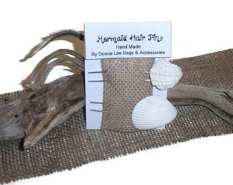 Seashell Hair Picks, Beach Wedding Hair Accessories, Handmade Gift for Bride or Bridesmaid, Mermaid Hair Pins, Natural Florida Sea Shells