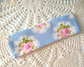 """Pretty Pink and Blue Floral Roses DPN Cozy for 6-7"""" Knitting Needles!"""