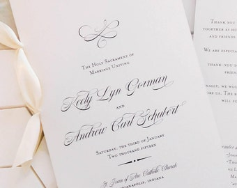 Classic Wedding Program with Ribbon, Folded 8.5 x 11 - DIGITAL DOWNLOAD - Catholic Wedding Program - Religious Ceremony Program