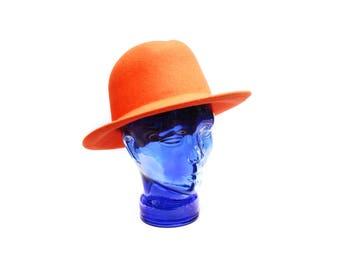 Vintage formal hat, plain orange felted wool fedora hat, Oberwalder Vienna Wiener Modell, made in Austria, 1980s women's fashion accessory