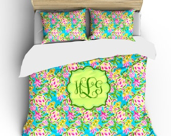 Sea Turtles Bedding Ensemble Custom Personalized -available Twin, TwXL, F-Queen or King Size - Your name or initials