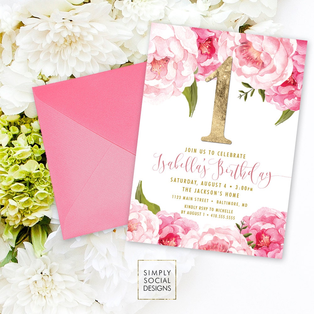 First birthday party invitation pink peony ranunculus and faux first birthday party invitation pink peony ranunculus and faux gold foil watercolor floral boho 1st birthday printable filmwisefo Choice Image