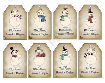 16 Printed Personalized Mr. Snowman gift tags by Swell Printing