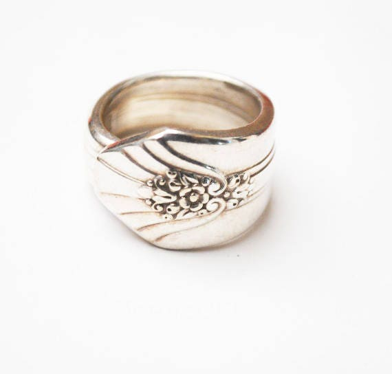 Spoon Ring - Silver plated WM Rodgers IS Sectional- size 6 1/2 cuff ring