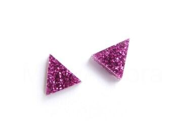 Fuchsia Earrings, Triangle Stud Earrings, Glitter Studs, Hot Pink Glitter Earrings, Fuchsia Jewelry, Sparkly Earrings, Geometric Jewelry