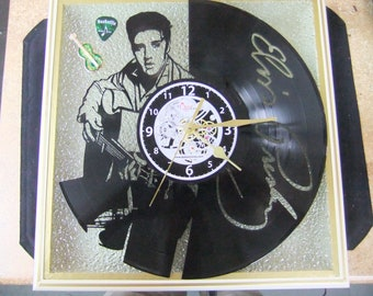 """Handcrafted Elvis Presley Clock - 12"""" LP Silhouette - LED Lighted Stained Glass Face - Created in New Bern NC"""