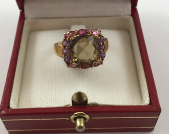 New GORGEOUS 9.8 ct Cognac Quartz and 4.5 ct Tourmaline on 18K Yellow Gold over Silver Ring size 7.5