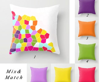 Colorful Pillow Covers, Purple Pillow, Orange, Green Pillow, White and Yellow Pillows Solid Pillows Decorative Throw Pillows, Sofa Pillows