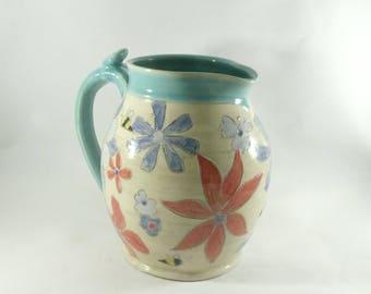 Large Ceramic Pitcher with Flowers and Bees; Creamer, Jar for Iced Tea, Milk Jug, Ewer, Ceramic Pouring Vessel, Kitchen Vase, Carafe,