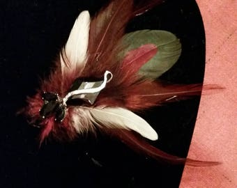 Beetle feather brooch