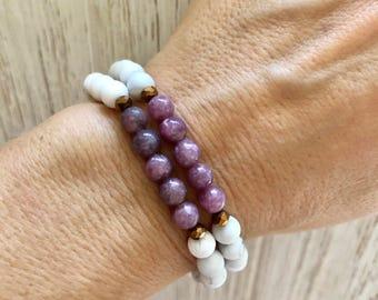 Lepidolite Mala Bracelet - Mala Beads - White Howlite Mala - Yoga Bracelet - Mala Bracelet Stack - Calm - Awareness - Mala Bracelet Stack
