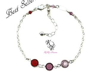 Birthstone Bracelet - Grandma Bracelet - Mothers Bracelet - Family Bracelet - Sterling Silver Bracelet - Birthstone Jewelry - Mother Jewelry