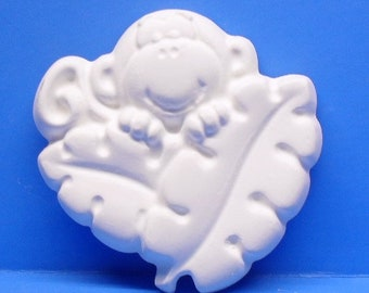Ready To Paint/DIY/Plaster/ChalkWare/PlasterCraft Flat Back Magnet Moneky With Leaf #146A