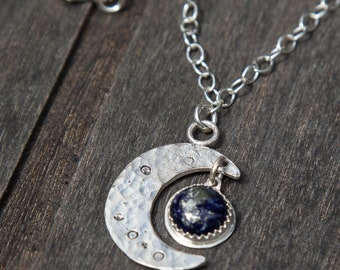 Lapis Lazuli Crescent Moon Necklace | Sterling Silver | One of a Kind