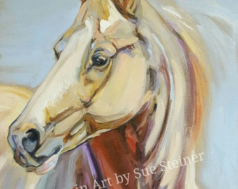 Palomino horse painting, horse oil painting, dun horse, Palomino, quarter horse, horse painting, equine art, colorful abstract horse,