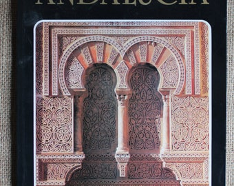 Vintage Andalucia Book Illustrated Spain Travel Paperback Art Craft Supply Collage Scrapbooking Journalling