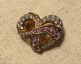 Vintage small Swarovski crystal heart pink ribbon pin, survivor ribbon heart crystal brooch, swirling heart cancer survivor Swarovski pin
