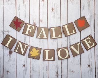 FALL IN LOVE banner, fall in love sign, fall in love bridal shower, fall in love wedding sign, fall wedding decor, fall wedding banner