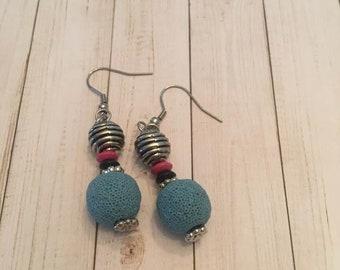 Lava Stone Ball Earrings,Lava Stone Earrings,Lava bead Dangle Earrings, Diffuser Earrings,Aromatherapy Earrings, Essential Oil earrings
