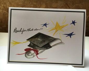 Graduation card congratulations watercolor print