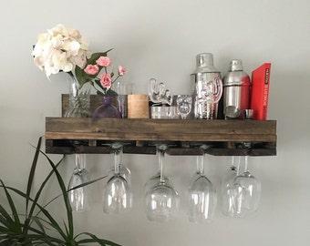 "24"" Rustic Wood Wine Rack | Shelf & Stemware Glass Holder Organizer Unique"