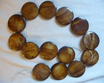 Beads, Mother of Pearl, 30mm Flat Round Coin , Dark Brown, 16 inch strand. Total of 14 beads on strand.