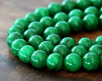 Mountain Jade Beads, Dark Green, 8mm Round - 15 Inch Strand - eMJR-G14-8