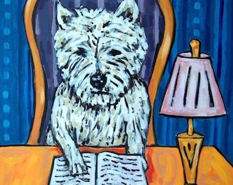 West Highland White Terrier Reading a Book Dog Art Print  JSCHMETZ modern folk library