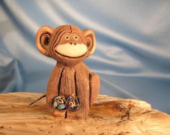 MONKEY STATUE FOLK Art Hand Made in Uruguay,Monkey Statue, monkey figurine, monkey fiqurine made in South America, Stone Monkey Statue