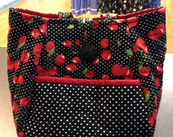 Rockabilly cherry quilted handbag