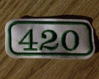 Green 420 iron on patch