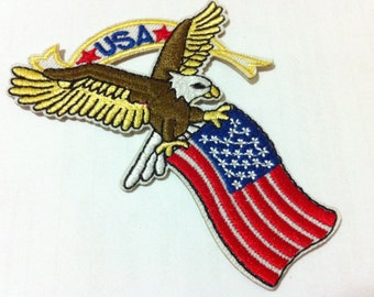 USA Flag Eagle (6.5 x 8.5 cm) Embroidered Iron on Applique Patch (B)