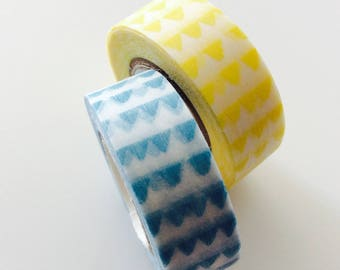 12 * 2 meter, masking tapes triangles yellows and blues set 12