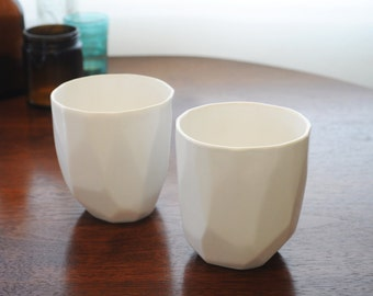 Geometric Lowball Tumblers- Set of Two in White