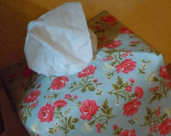 Ready To Ship -  Small Pink Rose Print  -  Fabric Tissue Box Cover