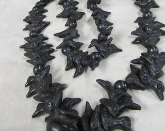 Oaxaca Mexican Black Pottery Bird Necklace