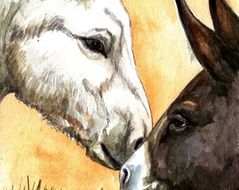 White Donkey and Baby Intro LLMartin Original Watercolor  Painting  Virginia Autumn Country  Burro