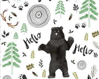Hello Woodland Bear Crib Blanket - Baby Blanket - Minky Blanket - Woodland Blanket - Watercolor Bear Baby Blanket - Woodland Animal Bedding