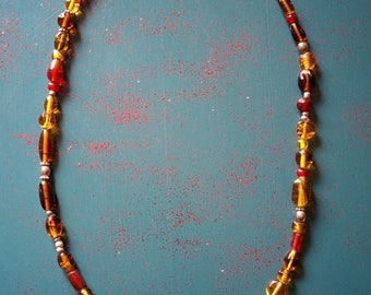 Long yellow necklace, glass beads, adjustable