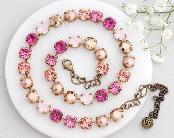 Rose Pink Necklace, Pink Swarovski Crystal Necklace, Pink Crystal Jewelry, Pink Tennis Necklace Nickel Free, Pink Rhinestone Necklace, Gioia