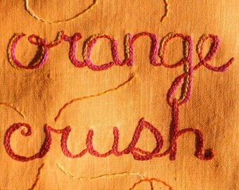 Orange Crush, Original art, Modern tapestry, Bohemian embroidery, Tiger, Tangerine,  Art gift, Wall art