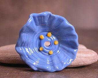 Art Glass Flower, Glass Flower Bead, Sculptural Flower, Periwinkle Blue, Lampwork Focal Bead, Divine Spark Designs