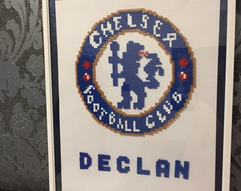Wall frame/decoration - Personalised Football logo - Chelsea FC -  with ribbon border