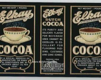 1930s Hot Steaming Cups Cocoa Old Time Original Can Label