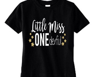 Little Miss ONEdeful Girls First Birthday Shirt - ONE Tee - 1st Birthday Party Pictures Shirt - Black White Gold Glitter Stars - One Year
