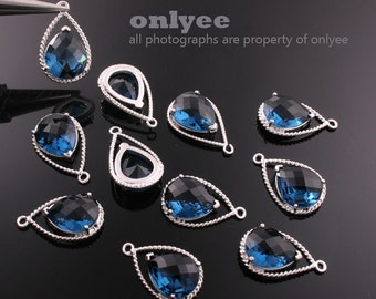 2pcs-20mmX13mRhodium Faceted NEW Style Tear Drop With Glass pendants-Montana(M333S-D)