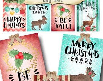 8 DIY•2.5x3.5 Tags•BE MERRY Tag Set #1•Thank You Tags•Printable Tags•Digital Tags•Favor Tags•Gift Tags