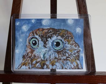 Wide-Eyed Owl ACEO Original Painting