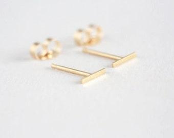 Tiny Solid 14 Karat Gold Line Earrings- 14 Karat solid Gold Line Studs- Gold Bar Earrings-  Gold bar Studs- Staple Earrings