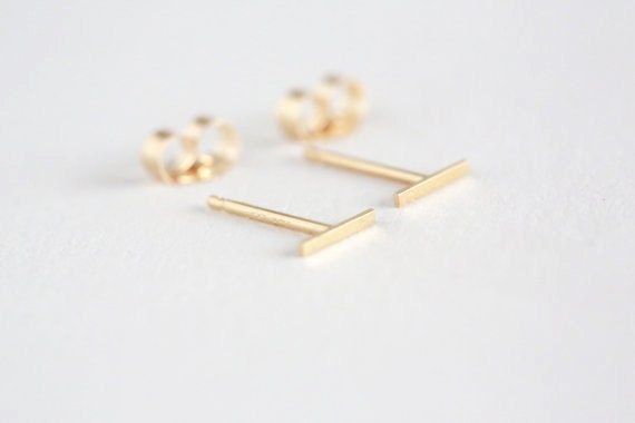 jennie single long bar earring gold sterling model kwon designs stud silver curved or products